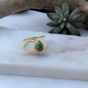 Boho Double Band Teardrop Faux Turquoise Pear Ring